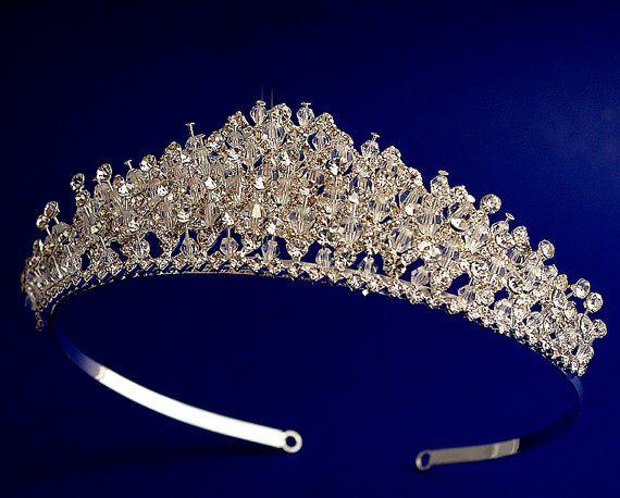 Swarovski&Crystal tiara, Bridal crystal crown ,Wedding Swarobski Headband, Floral tiara, Wedding headpiece, Silver, Wedding crown