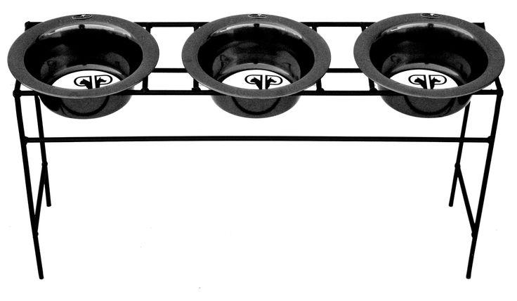 Platinum Pets Triple Diner Feeder with Stainless Steel Dog Bowls 28 oz Black