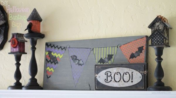 #DIY #Halloween Bunting Sign lollyjane.com #MichaelsStores