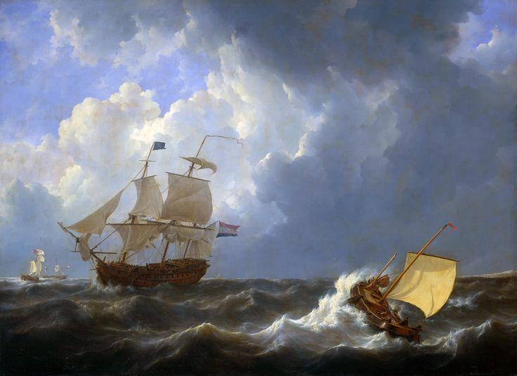 Schepen op onstuimige zee