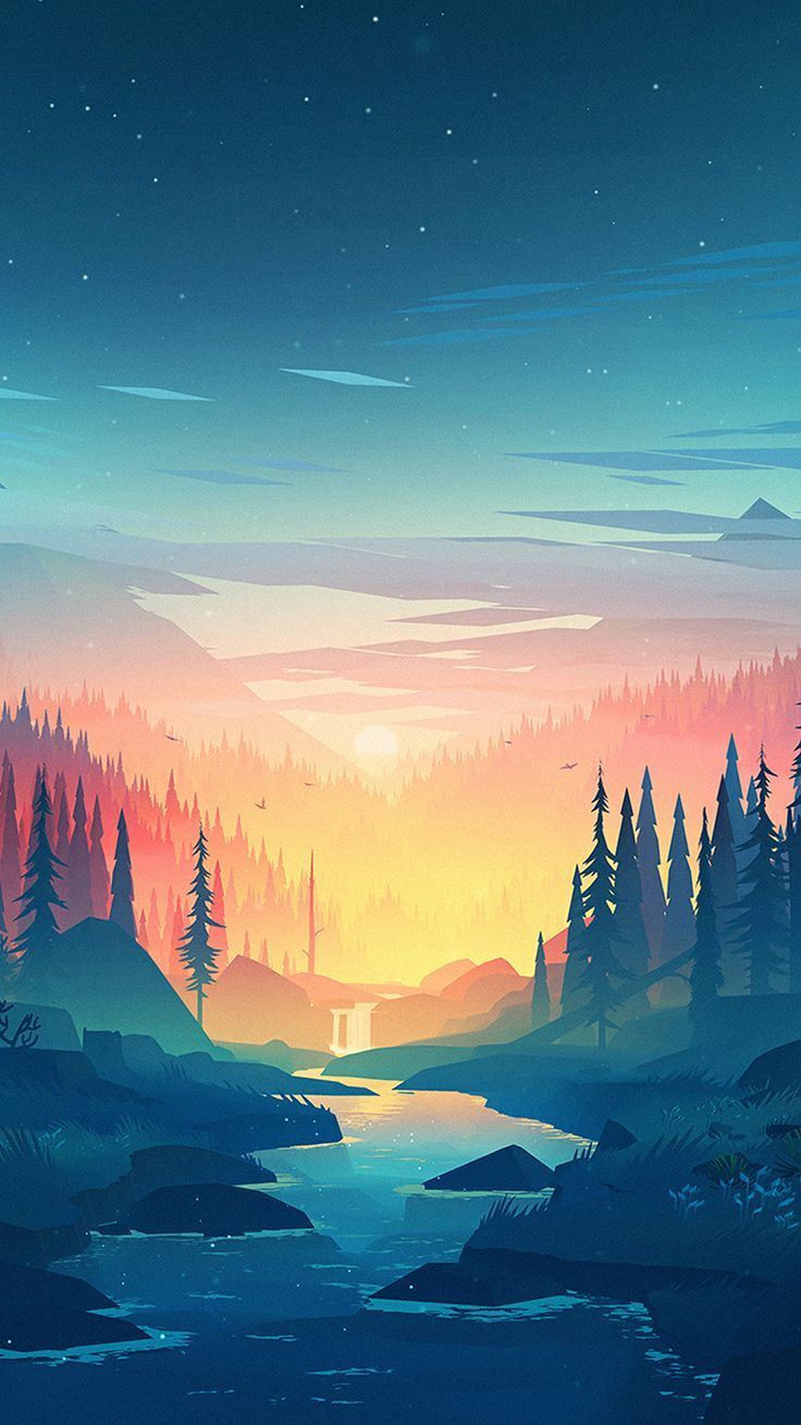 Illustration Mountain Scene At Twilight Waterfall And River