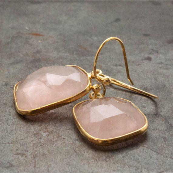 Rose Quartz Earrings Gold Dangle Earrings Pink by PiscesAndFishes