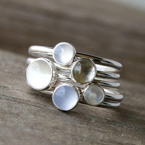 Lichtgevende edelsteen ringen Sterling Zilver door KiraFerrer
