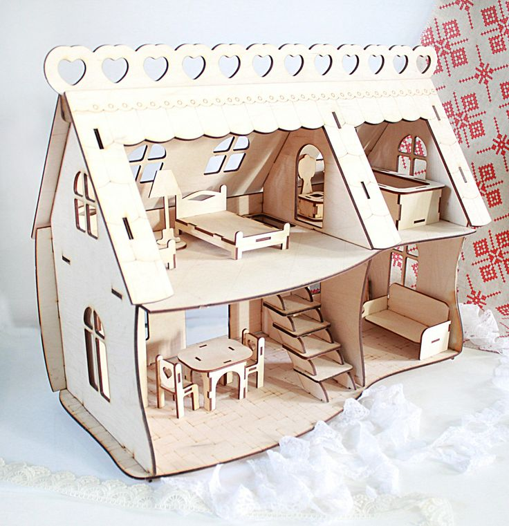 """Laser cut house wood Dollhouse """"Happy home"""" plywood"""