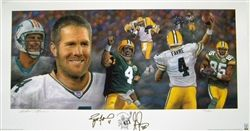 "Former Green Bay Packers star QB Brett Favre and Greg Jennings have each hand signed this Lithograph commemorating Brett Favre's record breaking 421st touchdown pass to Jennings. This piece was created exclusively by International sports artist Andrew Goralski & is a limited edition of 421. This Goralski Lithograph comes with an Official Brett Favre COA & hologram.  Lithograph measures 13"" x 31""."