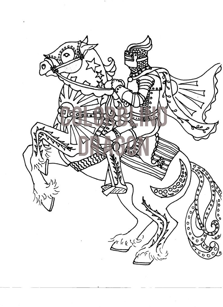 63 best coloring pages mine images on pinterest adult for Knight on horse coloring page