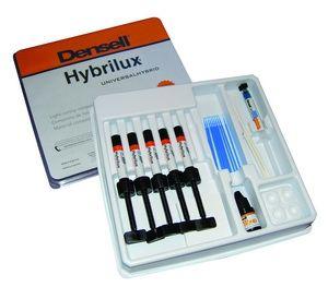 HYBRILUX UNIVERSAL HYBRID KIT 5 COLORES Híbrido universal de fotocurado Dientes anteriores y posteriores: Gran estabilidad de color Pulido alto brillo - translucidez Resistencia a la abrasión Alta resistencia a la compresión 75% (Vol. 64%) de refuerzo cerámico Kit : A1, A2, A3, A3.5, D3 + BOND + ETCHING GEL - Cod. 1510