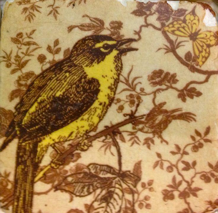 Sweet yellow bird - tile style coaster.