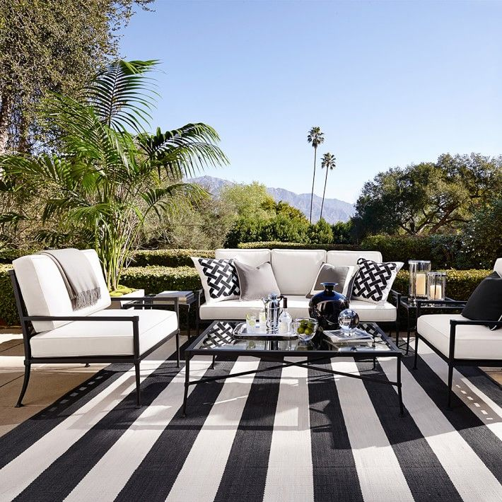 Striped White And Black Indoor Outdoor Carpet
