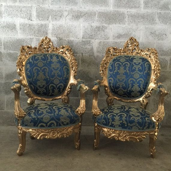 Antique Italian Rococo Throne Chairs Fauteuil Wingback Sofa Settee Couch Royal Blue Gold Paint Frame Shabby Chic Solid Wood By SittinPrettyByMyleen On