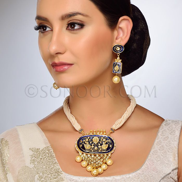 PEN/1/3711 Prina Pendant Set with Earrings in dull gold finish studded with kundan, meena kari, and hanging pearl droplets