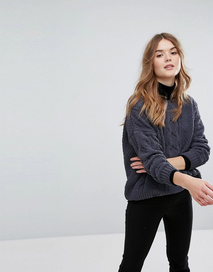 New Look Chenille Cable Oversized Sweater - Gray