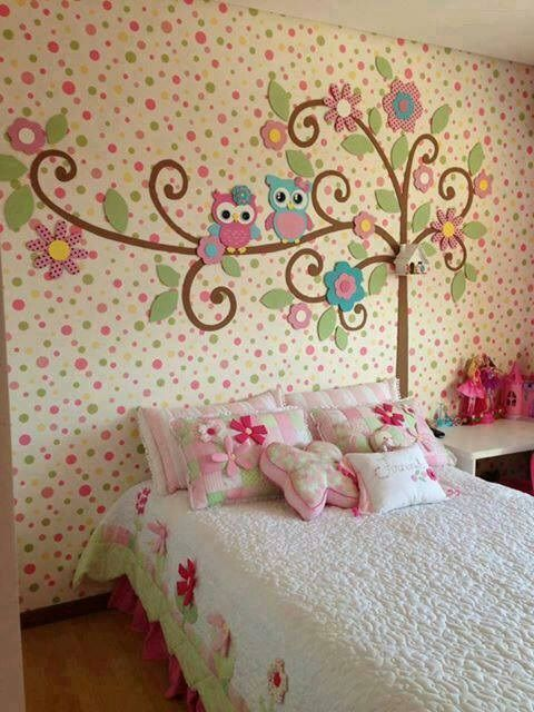 cute!! Maybe a solid color wall instead of the polka dots though. Love the owls in the tree.