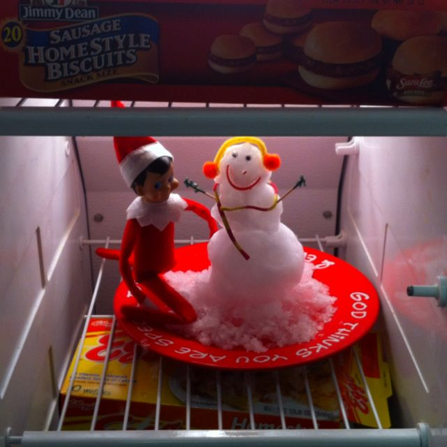Elf on the shelf- in the freezer making a Snowman