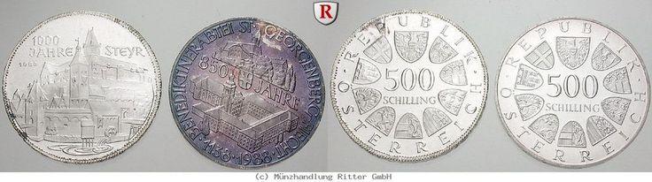 RITTER Österreich, 2x 500 Schilling 1980-1988, Steyr, St. Georgenberg-Fiecht, PP #coins