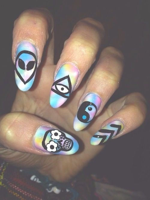 ❤ Nails. Alien. Galaxy. Tye-dye. Illuminati. Hipster.yin and yang. Sugar skull. Flower.