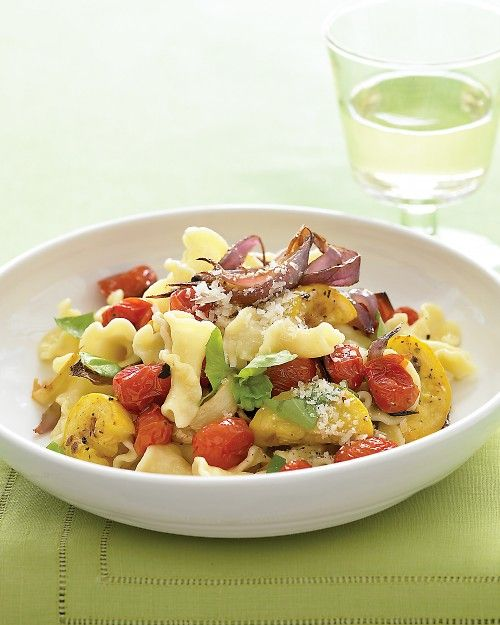 Pasta With Roasted Summer Vegetables And Basil Recipe Vegetables Summer