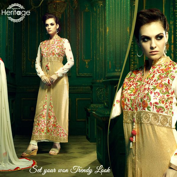 Off White Shaded Georgette Embroidered Salwar Kameez