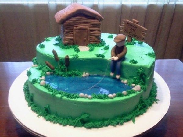 80th Birthday Fisherman Cake - This adorable cake is a fabulous choice for the man who loves to fish!
