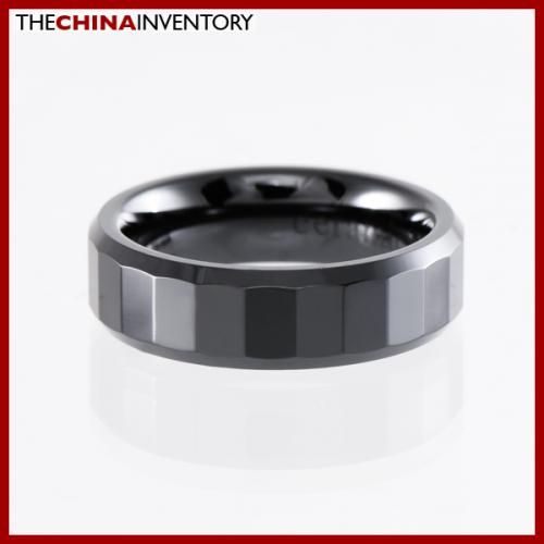 6MM SIZE 5 BLACK CERAMIC FACETED BAND RING R1405