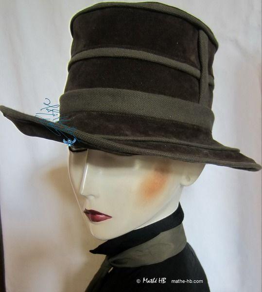 hoed, groen kaki jean kunstleer voorjaar stad-hoed van Mathe-HB, Naaien, gestiliseerde-hoeden, accessoires-mode op DaWanda.com