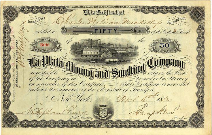 La Plata Mining & Smelting Co., New York, Aktie von 1882 + HOCHDEKORATIV + RAR