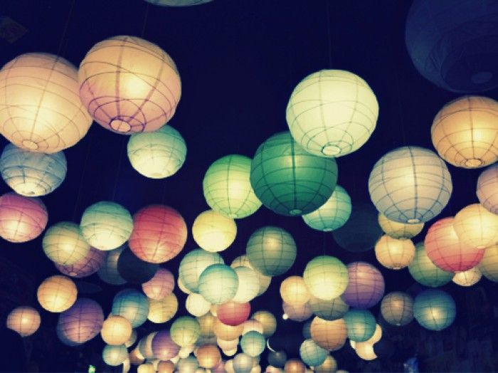 Japanse chochin, papieren lantaarns. Oftewel rijstlampen.