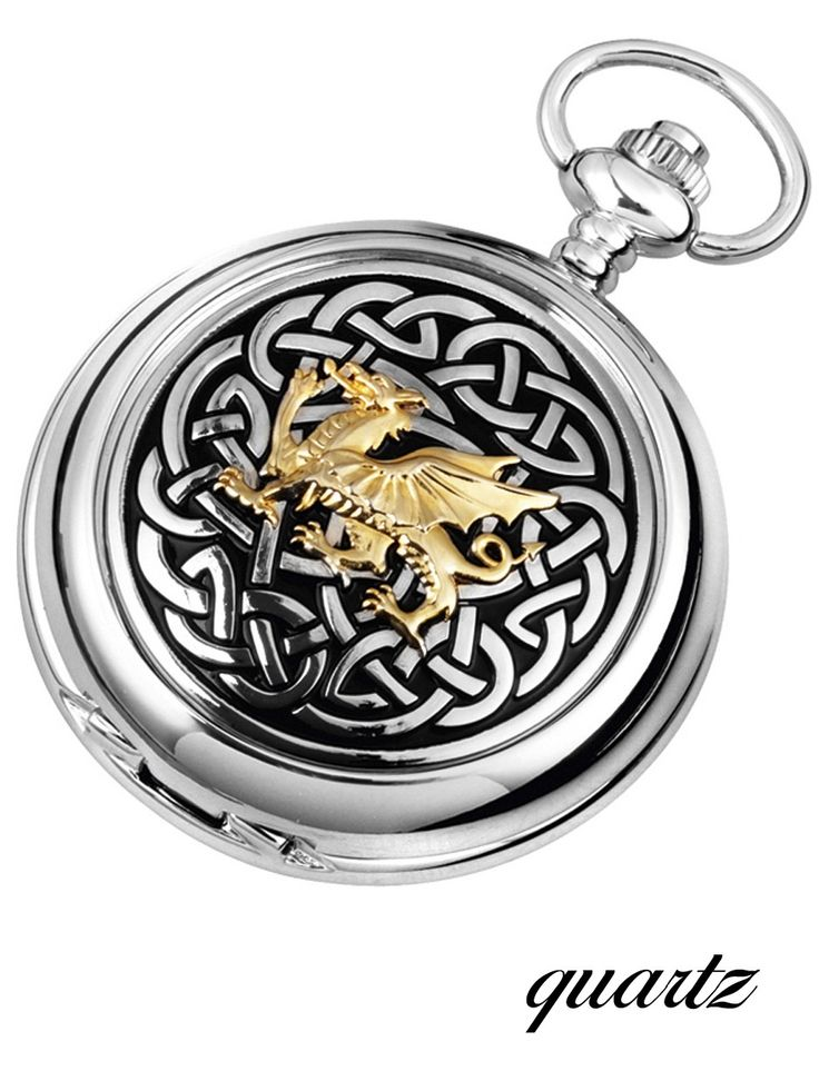This watch bears the Welsh emblem of the Dragon in gilt finish raised on the outer lid of the pocket watch, surrounded by intricate Celtic Knotwork design making it a very popular gift. Description from silver2love.com. I searched for this on bing.com/images