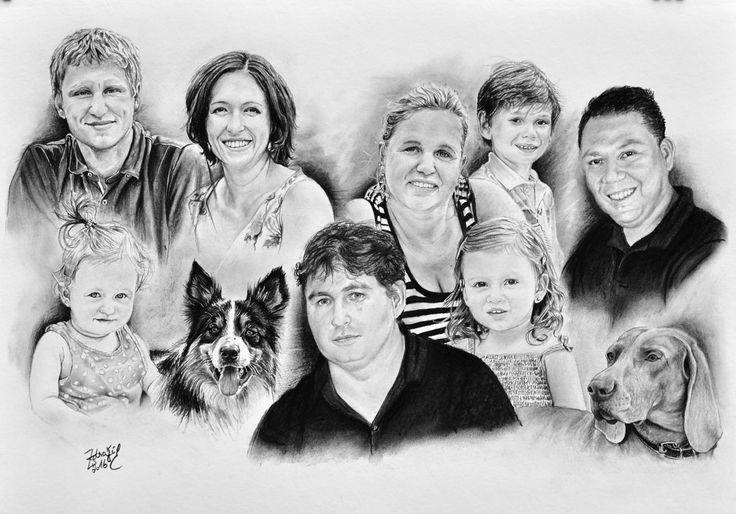 Kresba - rodinný portrét #portrait #charcoal #kresbauhlem #family