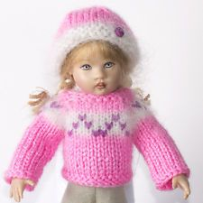 """Pink Hand Knitted Icelandic Sweater for 7.5-8"""" Kish Riley, Robert Tonner BJD"""