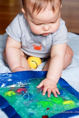 throw in some fun things for baby to look at and squish around in the gel. Squeeze out as much air as you can when you seal the bag. I ran ...