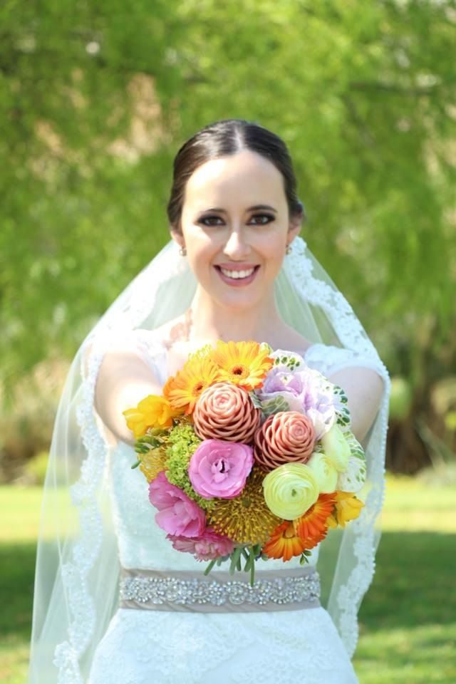 bright, colorful, wedding bouquet