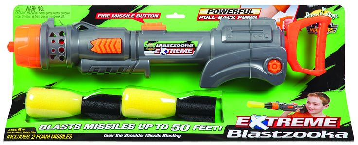Buzz Bee Toys Air Warriors EXTREME Blastzooka. Pull back, pump action. Blastzooka rests on the shoulder for realistic launching action. Launches missiles up to 50 feet. Includes blaster and 2 soft foam missiles. Recommended for children 6 years of age and older.