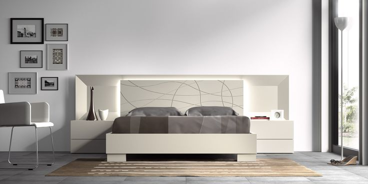 Guardia - MARINA Matt Lacquer or High Gloss Modern Minimalist Bed