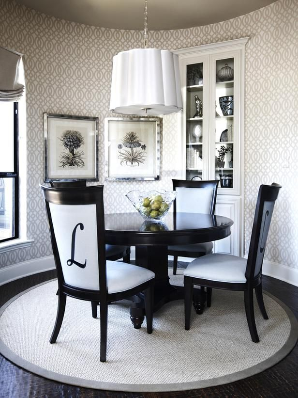 gorgeous dining room love the monogrammed chairs httpwwwhgtv - Dining Room Chairs Pinterest