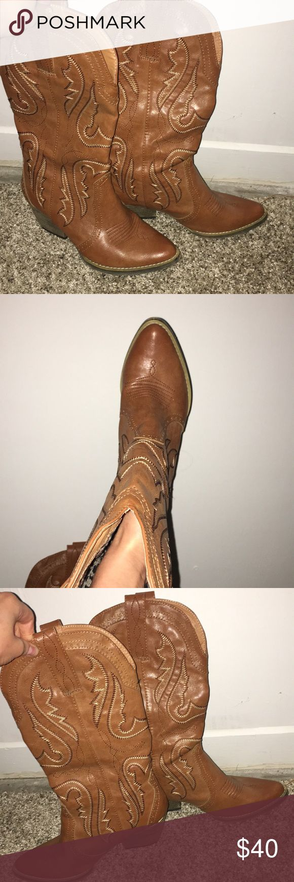 Very Volatile brand cowboy boots. Tan, leather cowboy boots. Only worn 4 times. In great condition Very Volatile Shoes Ankle Boots & Booties