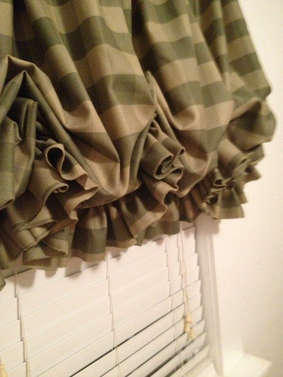 Sage Green Buffalo Check Balloon Curtain With Ruffle By