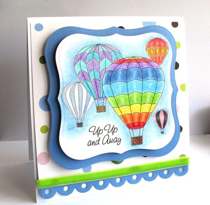 Free hot air balloon digital stamps