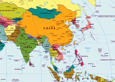 Map of Asia for International Studies