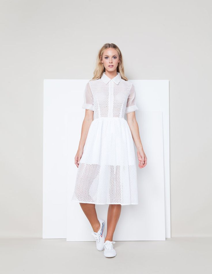 Sarah Seven - Ready To Wear - Charlie in white. Rehearsal look. Cut outs, quarter sleeves, midi, mid-length, button-up, collar neckline. #sarahseven #sarahsevendaily