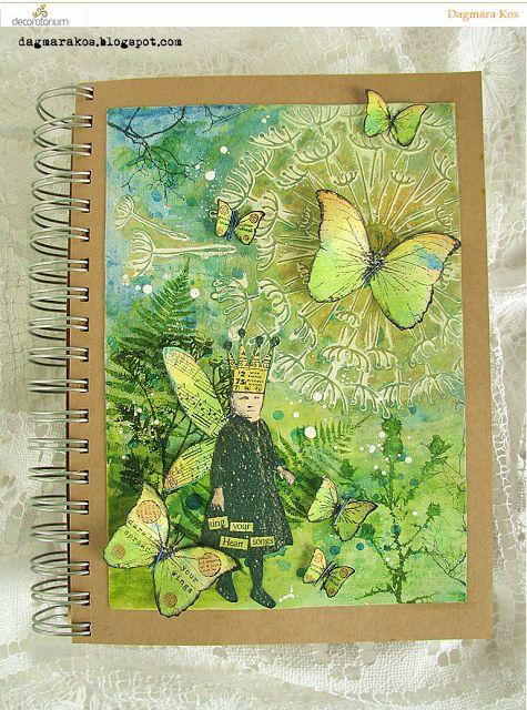Dagmara Kos : Fantasy world mixed media art journal page with DecoArt media Prima Marketing and Tim Holtz stamps