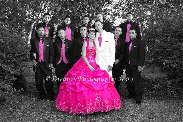 Quinceañera Y Chambelanes. Main Chambelan in white all others in black. With a little hint of pink :)