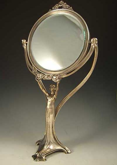 Polished silver-plate on pewter & bevelled glass mirror with Art Nouveau figural maiden ~ Germany ~ 1906