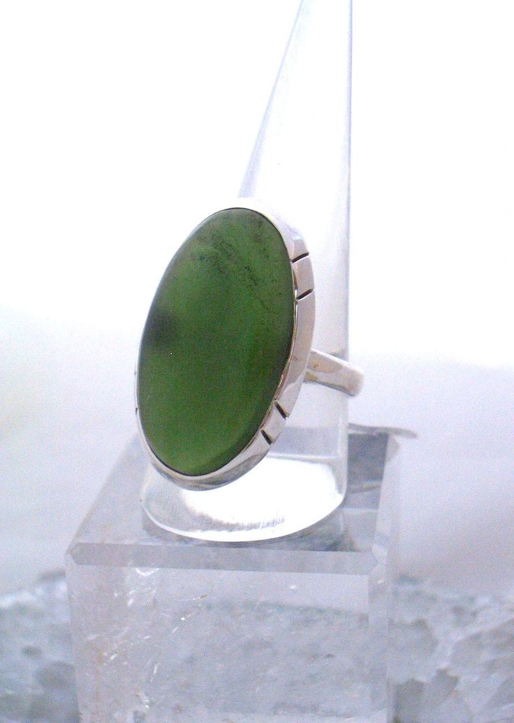 Sz 9.5, Genuine Canadian JADE (BOWENITE) Serpentine Large Oval Gemstone, 925 Solid Sterling Silver, Ring Jewellery for Women and Men! by AmeogemJewellery on Etsy