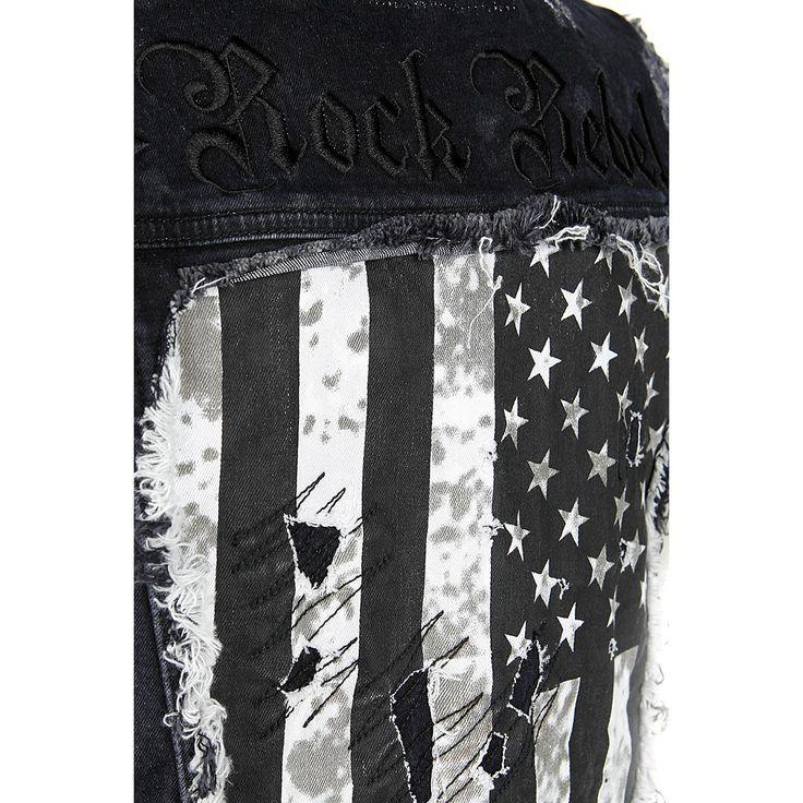"""Gilet in stile Vintage """"US Waistcoat"""" della collezione #RockRebelbyEMP con bandiera americana sul retro, 2 taschini sul petto con risvolto e bottoni in metallo e particolare effetto usurato."""