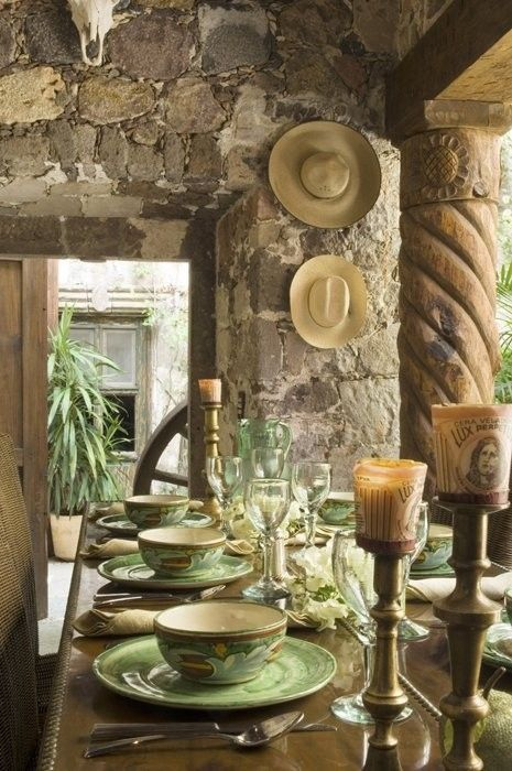 Canterra column, quarried stone walls and polished table.  San Miguel, y'all. www.annabelchaffer.com