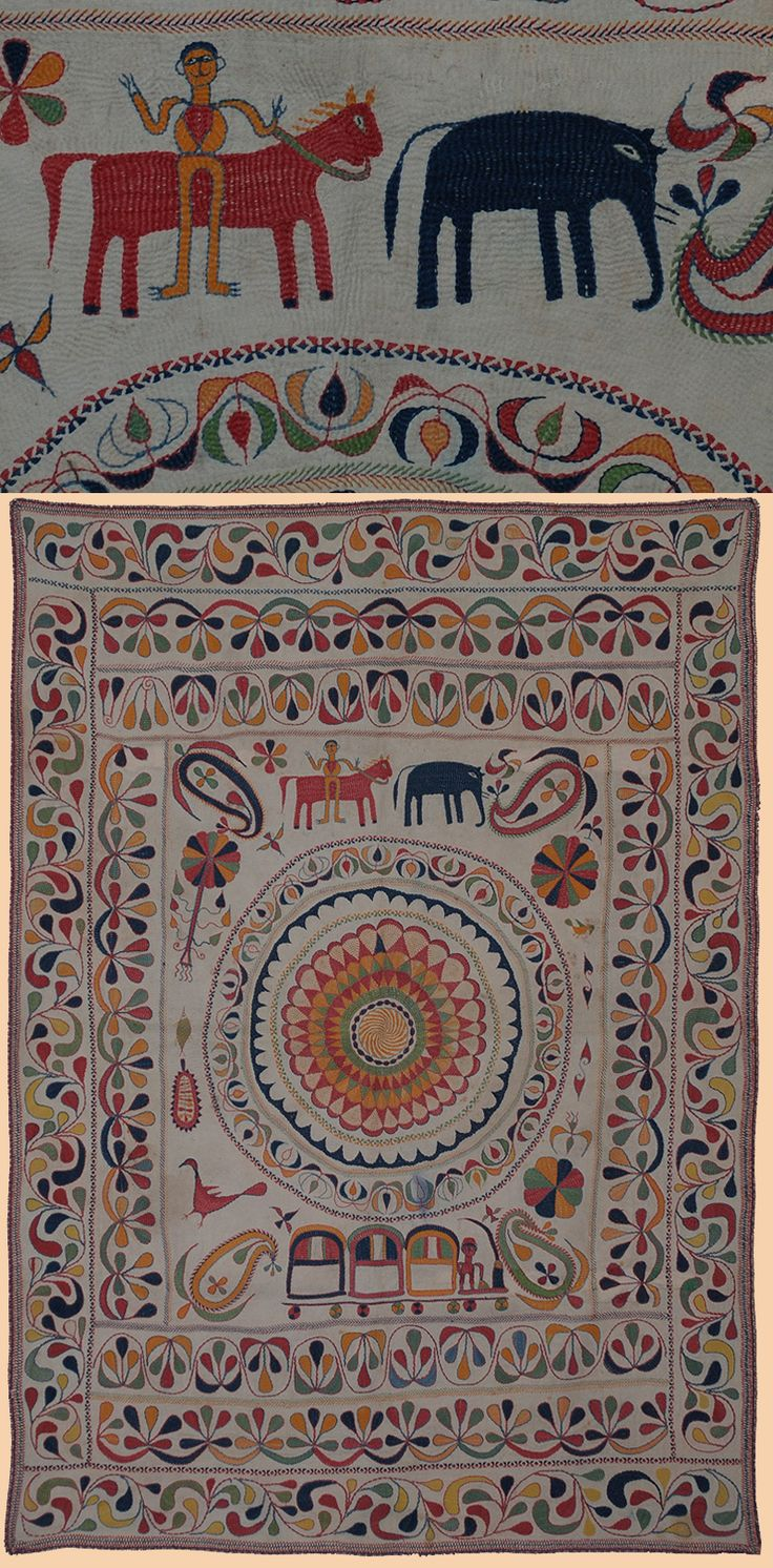 "Antique Kantha Embroidery from Bengal Textile.  1800-1900 A.D   Size 46"" x 33"" Size 117 x 84cm"