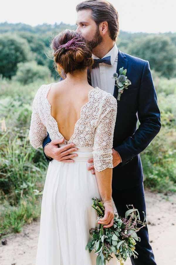 3/4 Sleeve See Through Backless Lace & Chiffon Wedding Dresses WD291