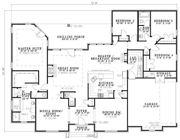 I like the layout split plan with all the bedrooms on one for House plans with split bedroom layout
