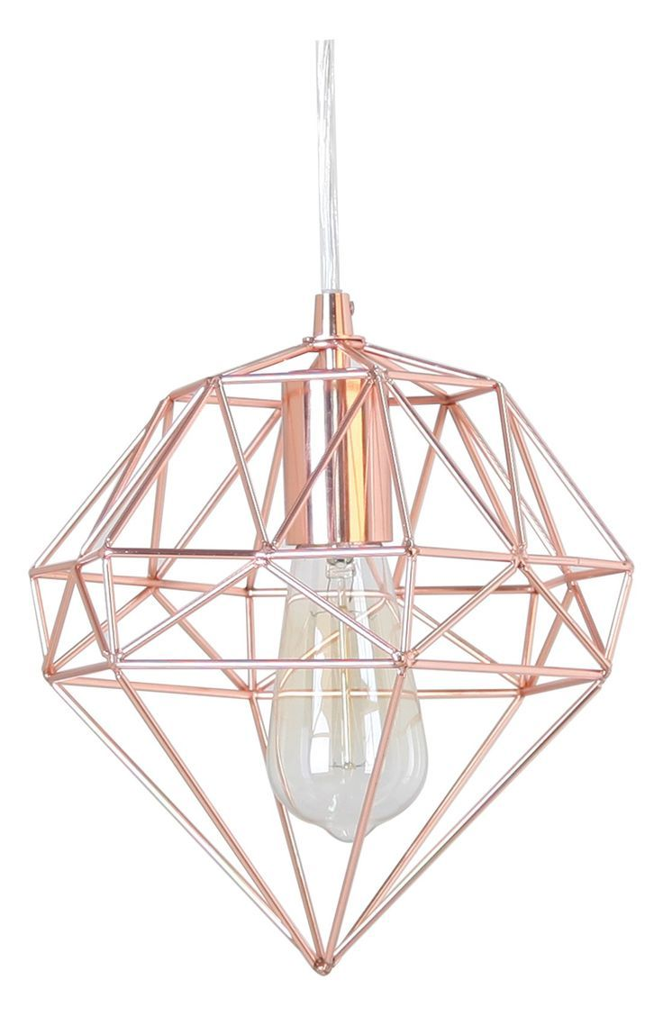 How cool is this modern, rose gold hanging lamp in the shape of a gem? Very trendy.